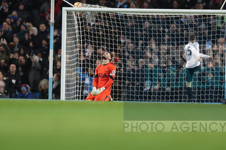 Hugo Lloris of Tottenham Hotspur reacts after the first goal during the Premier League match at Etihad Stadium, Manchester. Picture date: January 21st, 2017.Photo credit should read: Lynne Cameron/Sportimage
