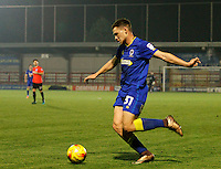 AFC Wimbledon's Seth Owens puts a cross in during the The Checkatrade Trophy match between AFC Wimbledon and Brighton & Hove Albion Under 21s at the Cherry Red Records Stadium, Kingston, England on 6 December 2016. Photo by Carlton Myrie / PRiME Media Images