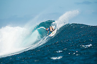Namotu Island Resort, Nadi, Fiji (Monday, May 30 2016): Nikki Van Dijk (AUS) - The  2016 Fiji Women's Pro commenced at 9 am this morning in clean 3'-4' building swell at Cloudbreak. Rounds 2,3and 4  was completed as the swell built through the afternoon. There were strong Trade winds in the afternoon as well making the waves a bit choppy. Photo: joliphotos.com