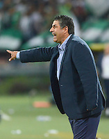 MEDELLÍN -COLOMBIA-29-08-2015. Santiago Escobar técnico de La Equidad gesticula durante encuentro con Atlético Nacional por la fecha 9 de la Liga Aguila II 2015 jugado en el estadio Atanasio Girardot de la ciudad de Medellín./ Santiago Escobar coach of La Equidad gestures during match against Atletico Nacional for the  9th date of the Aguila League II 2015 at Atanasio Girardot stadium in Medellin city. Photo: VizzorImage/León Monsalve/STR