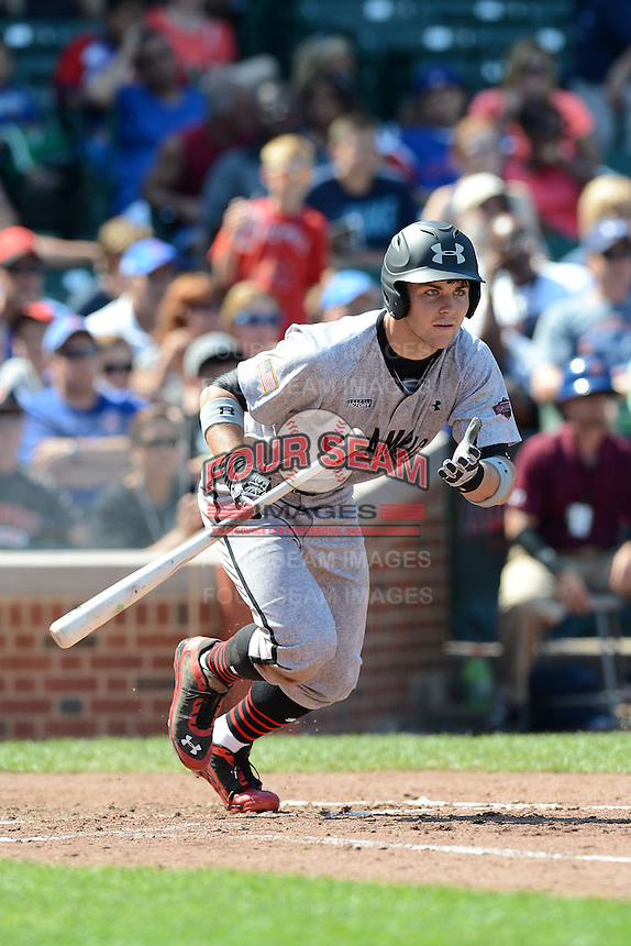 Michael Gettys of Gainesville High School in Gainesville, Florida at bat during the Under Armour All-American Game on August 24, 2013 at Wrigley Field in Chicago, Illinois.  (Mike Janes/Four Seam Images)