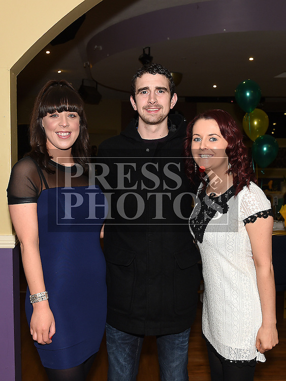 Grainne Lenehan, Barry O'Brien and Andrea Byrne pictured at the Naomh Fionnbarra JFC celebration and presentation night in the Grove House Dunleer. Photo:Colin Bell/pressphotos.ie