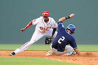 Shortstop Jose Vinicio (36) of the Greenville Drive takes the throw but Taylor Featherston (2) of the Asheville Tourists steals second base in the third inning of a game on May 16, 2012, at Fluor Field at the West End in Greenville, South Carolina. Greenville won 5-4. (Tom Priddy/Four Seam Images).