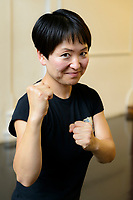 Dramatic combat instructor Haruka Kuroda teaches a stage fighting workshop, Jacksons Lane Arts Centre, London, UK, August 15, 2018. Japan-born Kuroda is a British Academy of Dramatic Combat certified instructor. She also voiced the character Noodle in the virtual pop group Gorillaz and appears on the CBBC programme Officially Amazing.