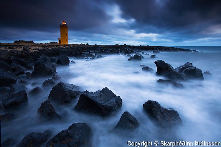 The Risk of Darkness, Stafnesviti lighthouse in Reykjanes peninsula, west Iceland