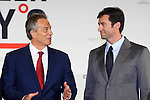 Actor Hugh Jackman talks with Tony Blair during the launch of Climate Week in New York. pic by Trevor Collens. fee applies