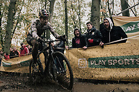 CX world champion Wout Van Aert (BEL/Crelan-Charles) splashing about...<br /> <br /> Elite Men's race<br /> Superprestige Gavere / Belgium 2017