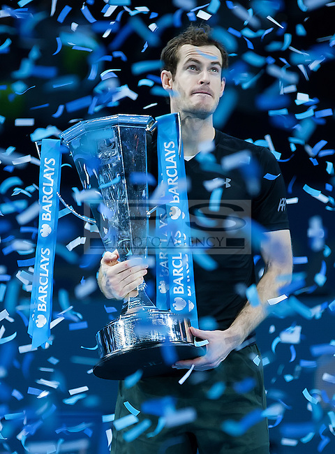 Andy Murray (GBR) with the ATP World Tour Trophy after his win in the final against Novak Djokovic (SRB), ATP World Tour Finals 2016, Day Eight, O2 Arena, Peninsula Square, London, United Kingdom, 20th Nov 2016