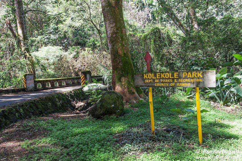 Kolekole Beach Park sign in Honomu, Big Island, Hawaii