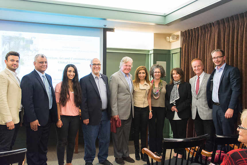 From left to right: Rayan Albakri, Mohamed Khalil, Rand Algosaibi-Bakr (poli comm '18), James Statman, Hussein Fahmy, Rana Algosaibi, Amy Ansell, Fatima Algosaibi, Dr. Gregory Payne, Joe Kuss