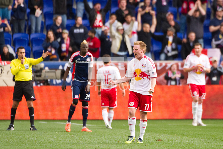Dax McCarty (11) of the New York Red Bulls celebrates at the final whistle. The New York Red Bulls defeated the New England Revolution 1-0 during a Major League Soccer (MLS) match at Red Bull Arena in Harrison, NJ, on April 28, 2012.