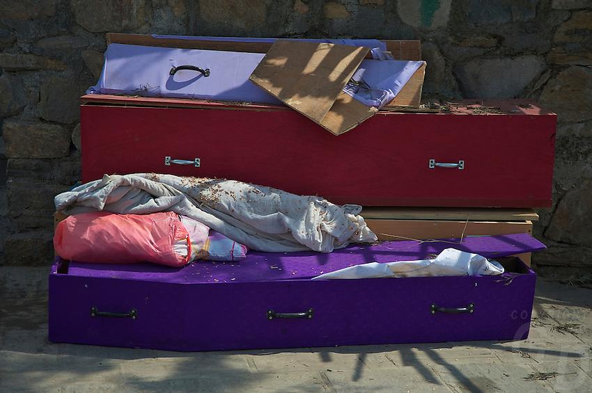 Colorful Coffins at the Shambhu Nath Hindu Cremation Area, Kathmandu Nepal