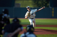 Notre Dame Fighting Irish starting pitcher Michael Hearne (28) in action against the Louisville Cardinals in Game Eight of the 2017 ACC Baseball Championship at Louisville Slugger Field on May 25, 2017 in Louisville, Kentucky. The Cardinals defeated the Fighting Irish 10-3. (Brian Westerholt/Four Seam Images)