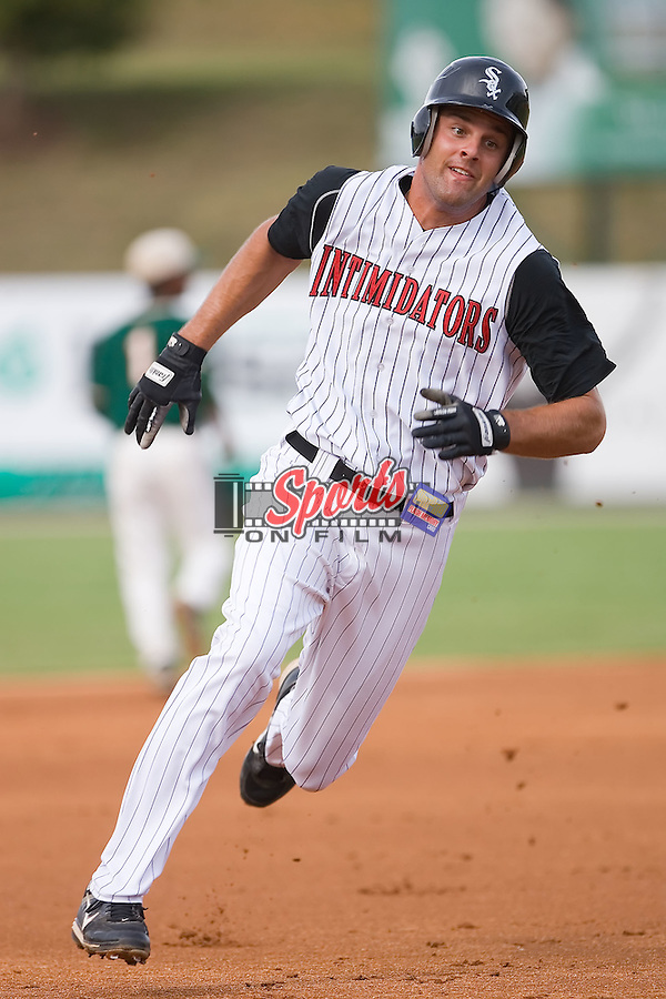 Jordan Danks (13) of the Kannapolis Intimidators rounds third base at Fieldcrest Cannon Stadium in Kannapolis, NC, Saturday August 24, 2008. (Photo by Brian Westerholt / Four Seam Images)