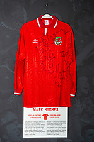 Mark Hughes' 1992/94 Wales home shirt is displayed at The Art of the Wales Shirt Exhibition at St Fagans National Museum of History in Cardiff, Wales, UK. Monday 11 November 2019