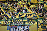 BOGOTÁ -COLOMBIA, 17-01-2015. Hinchas del Bucaramanga alentan a su equipo durante el encuentro entre Atletico Bucaramanga y Cúcuta Deportivo por la fecha 2 de los cuadrangulares de ascenso Liga Aguila 2015 jugado en el estadio Metropolitano de Techo de la ciudad de Bogotá./ Supporters of Bucaramanga encourege their team during the match between Atletico Bucaramanga and Cucuta Deportivo for the second date of the promotional quadrangular Aguila League 2015 played at Metropolitano de Techo stadium in Bogotá city. Photo: VizzorImage/ Gabriel Aponte / Staff