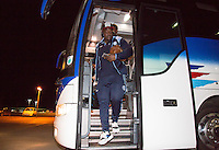 Adebayo Akinfenwa of Wycombe Wanderers arrives ahead of the Sky Bet League 2 match between Colchester United and Wycombe Wanderers at the Weston Homes Community Stadium, Colchester, England on 21 February 2017. Photo by Andy Rowland / PRiME Media Images.