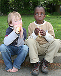 Matthew Meegan and Joseph Abyomi at the Fundraising BBQ in Termonfeckin National School...Photo NEWSFILE/Jenny Matthews.(Photo credit should read Jenny Matthews/NEWSFILE)....This Picture has been sent you under the condtions enclosed by:.Newsfile Ltd..The Studio,.Millmount Abbey,.Drogheda,.Co Meath..Ireland..Tel: +353(0)41-9871240.Fax: +353(0)41-9871260.GSM: +353(0)86-2500958.email: pictures@newsfile.ie.www.newsfile.ie.FTP: 193.120.102.198.