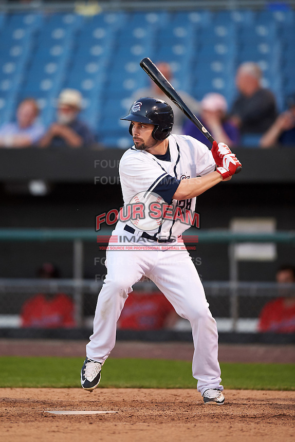 Syracuse Chiefs right fielder Caleb Ramsey (28) at bat during a game against the Louisville Bats on June 6, 2016 at NBT Bank Stadium in Syracuse, New York.  Syracuse defeated Louisville 3-1.  (Mike Janes/Four Seam Images)