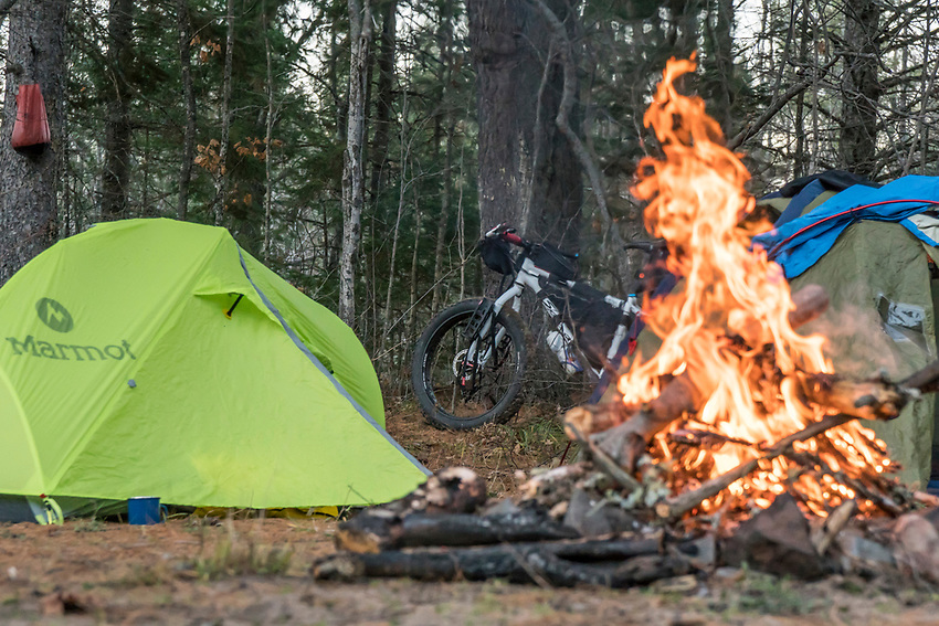 Bikepacking campsite along the Yellow Dog River in Marquette County, Michigan.