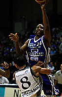 Ernest Scott shoots over Paora Winitana during the NBL Basketball match between the Wellington Saints and Bay Hawks, TSB Bank Arena, Wellington, New Zealand on Saturday, 10 May 2008. Photo: Dave Lintott / lintottphoto.co.nz