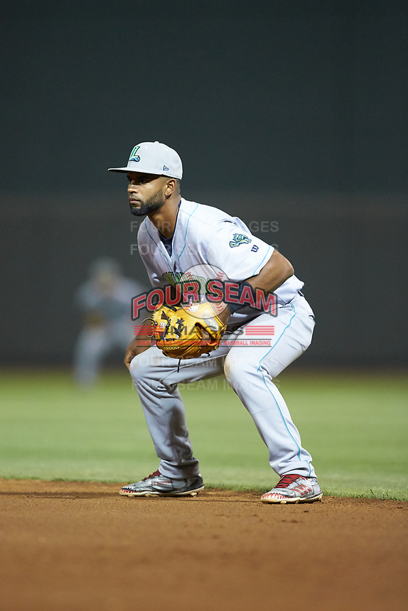 Lynchburg Hillcats second baseman Wilbis Santiago (44) on defense against the Winston-Salem Dash at BB&T Ballpark on May 9, 2019 in Winston-Salem, North Carolina. The Dash defeated the Hillcats 4-1. (Brian Westerholt/Four Seam Images)
