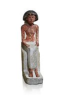 Ancient Egyptian statue of Maa, limestone, New Kingdom, 18th Dynasty, (1480-1390 BC), Thebes Necropolis. Egyptian Museum, Turin. white background. Drovetti collection. Cat 3089