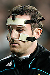 Real Madrid's Christophe Metzelder sports a protecting mask as he warms up during La Liga match, January 04, 2009. (ALTERPHOTOS).