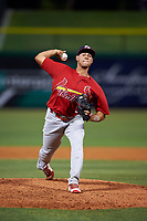 Palm Beach Cardinals relief pitcher Juan Perez (30) delivers a pitch during the second game of a doubleheader against the Clearwater Threshers on April 13, 2017 at Spectrum Field in Clearwater, Florida.  Palm Beach defeated Clearwater 1-0.  (Mike Janes/Four Seam Images)