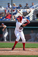 Auburn Doubledays left fielder Luis Perdomo (4) at bat during the second game of a doubleheader against the Mahoning Valley Scrappers on July 2, 2017 at Falcon Park in Auburn, New York.  Mahoning Valley defeated Auburn 3-2.  (Mike Janes/Four Seam Images)