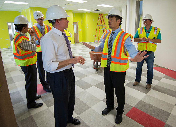 Houston ISD trustee Harvin Moore tours the new Mandarin Immersion Magnet School, July 27, 2016.