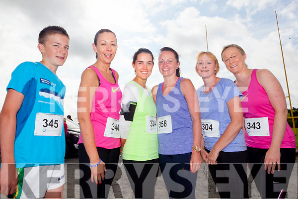 Abbeyfeale runners Paul Donovan, Marie Horgan, Sarah McGroary, Breda Rowsome, Theresa Collins and Michelle Flannery pictured last Saturday morning at The Race For The Title as part of the Gather By The Feale Summer Festival.