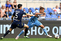 Federico Barba of AC Chievo Verona and Ciro Immobile of Lazio compete for the ball during the Serie A 2018/2019 football match between SS Lazio and AC Chievo Verona at stadio Olimpico, Roma, April, 20, 2019 <br /> Photo Antonietta Baldassarre / Insidefoto