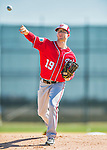 25 February 2016: Washington Nationals pitcher Erik Davis throws during the first full squad Spring Training workout at Space Coast Stadium in Viera, Florida. Mandatory Credit: Ed Wolfstein Photo *** RAW (NEF) Image File Available ***