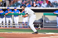 Biloxi Shuckers first baseman Dustin DeMuth (11) runs to first base during a game against the Tennessee Smokies at Smokies Stadium on May 26, 2017 in Kodak, Tennessee. The Smokies defeated the Shuckers 3-2. (Tony Farlow/Four Seam Images)