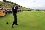Padraig Harrington tees off on the 16th hole during Practice Day 3 of the The 2010 Ryder Cup at the Celtic Manor, Newport, Wales, 29th September 2010..(Picture Eoin Clarke/www.golffile.ie)