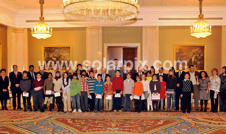"**ALL ROUND PICTURES FROM SOLARPIX.COM**.**WORDLWIDE SYNDICATION RIGHTS EXCEPT FOR SPAIN**NO PUBLICATION IN SPAIN**.The Prince and Princess of Asturias, Felipe de Bourbon and Letizia Ortiz Rocasolano, Spain, receiving a delegation from ""Aldeas Infantiles SOS"", led by Juan Belda, which is working on an education values project. 11th November 2008..This pic: Felipe and Letizia..JOB REF:  7852 PTG        DATE: 11_11_2008.**MUST CREDIT SOLARPIX.COM OR DOUBLE FEE WILL BE CHARGED* *UNDER NO CIRCUMSTANCES IS THIS IMAGE TO BE REPRODUCED FOR ANY ONLINE EDITION WITHOUT PRIOR PERMISSION*"