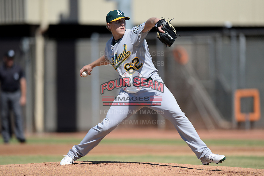 Oakland Athletics pitcher Tyler Hollstegge (62) during an Instructional League game against the Milwaukee Brewers on October 10, 2013 at Maryvale Baseball Park Training Complex in Phoenix, Arizona.  (Mike Janes/Four Seam Images)