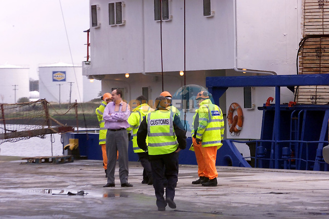 Customes Officers in Drogheda Port waiting to Board the Ship Dunkirk Express II which was seised early on Tuesday Morning due to information that it had connections to the real IRA..Picture Fran Caffrey Newsfile.