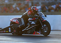 Jul 8, 2016; Joliet, IL, USA; NHRA pro stock motorcycle rider Eddie Krawiec during qualifying for the Route 66 Nationals at Route 66 Raceway. Mandatory Credit: Mark J. Rebilas-USA TODAY Sports