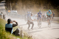 race leaders Jakob FUGLSANG (DEN/Astana) & Julian ALAPHILIPPE (FRA/Deceuninck-Quick Step) conquering the last gravel section before entering Siena<br /> <br /> 13th Strade Bianche 2019 (1.UWT)<br /> One day race from Siena to Siena (184km)<br /> <br /> ©kramon