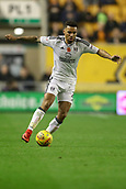 3rd November 2017, Molineux, Wolverhampton, England; EFL Championship football, Wolverhampton Wanderers versus Fulham; Ryan Fredericks of Fulham keeps his balance as he takes the ball forward
