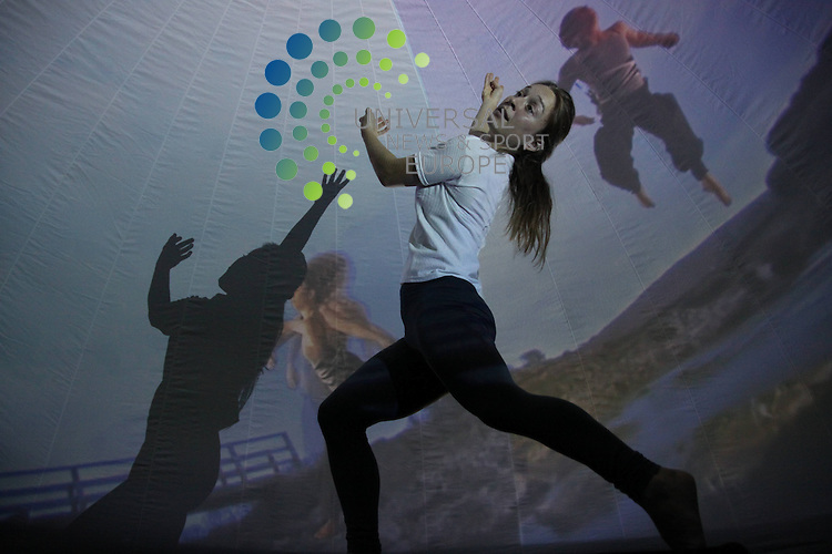 Laura Mas a dancer showing of the portable structure, The Dance Dome, which is a 360-degree cinema which will be showing the world premiere of Pal O' Me Heart.<br /> Picture: Duncan McGlynn/Universal News And Sport (Scotland) 20/08/2013