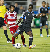 SANTA CLARA, CA - July 18, 2012: San Jose Earthquake midfielder Simon Dawkins (10) during the San Jose Earthquakes vs  FC Dallas match at the Buck Shaw Stadium in Santa Clara, California. Final score San Jose Earthquakes 2, FC Dallas 1.