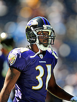 Sep. 20, 2009; San Diego, CA, USA; Baltimore Ravens cornerback (31) Fabian Washington against the San Diego Chargers at Qualcomm Stadium in San Diego. Baltimore defeated San Diego 31-26. Mandatory Credit: Mark J. Rebilas-