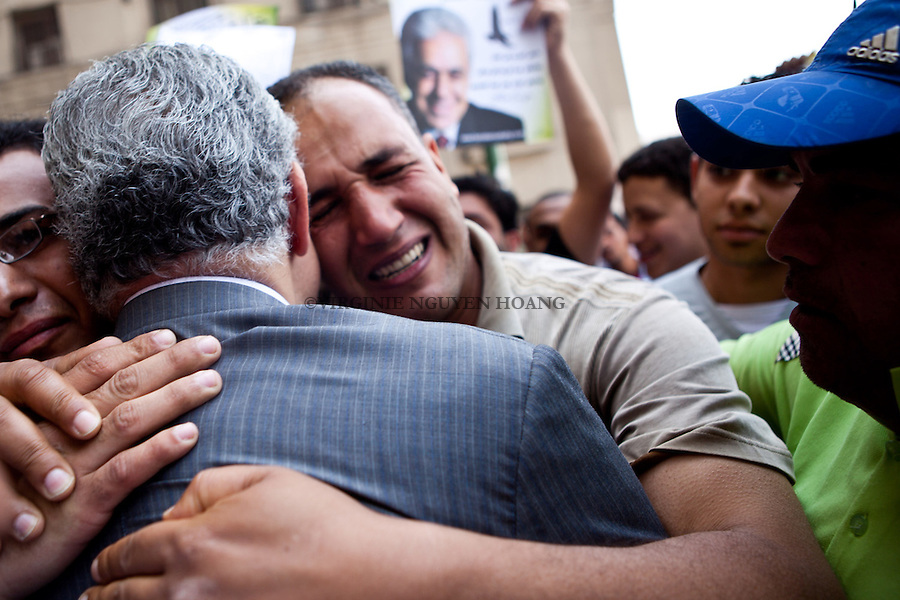 ©VIRGINIE NGUYEN HOANG/WOSTOK PRESS.Egypt,Cairo.01/05/2012..Egyptian presidential candidate Hamdeen Sabahi is greeted by  supporters during the Labour Day protest in Cairo..Hamdeen Sabahi is from the Karama Party, which has a Nasserist orientation. Seen as a leftist, the Sabbahi campaign platform involves the immediate implementation of social welfare programs. He aims to enhance Egypts position as a regional powerhouse, support the Palestinian cause with more vigor, promising to end Egypts role in the Gaza siege, and encourage cooperation with Iran and Turkey to decrease American influence in local politics...