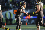 Nov 21, 2015; Eugene, OR, USA; Oregon Ducks quarterback Vernon Adams Jr. (3) congratulates special teams after kicking the extra point at Autzen Stadium. <br /> Photo by Jaime Valdez