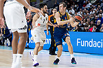 Real Madrid Facundo Campazzo and Herbalife Gran Canaria Nikola Radicevic during Turkish Airlines Euroleague match between Real Madrid and Herbalife Gran Canaria at WiZink Center in Madrid, 20 November 2018. (ALTERPHOTOS/Borja B.Hojas)