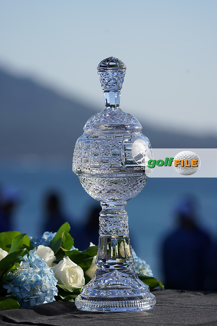 The trophy on display during the final round of the AT&T Pro-Am, Pebble Beach, Monterey, California, USA. 08/02/2020<br /> Picture: Golffile   Phil Inglis<br /> <br /> <br /> All photo usage must carry mandatory copyright credit (© Golffile   Phil Inglis)