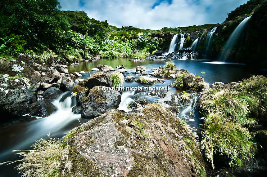 Small creek and waterfalls in Flores a tiny island of the Azores, Portugal